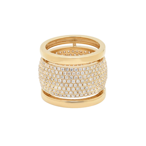 Gold White Diamond Trio Ring with Diamonds by Established for Broken English Jewelry