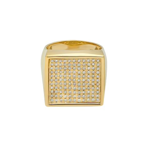 Gold & White Diamond Square Surface Ring by Established for Broken English Jewelry