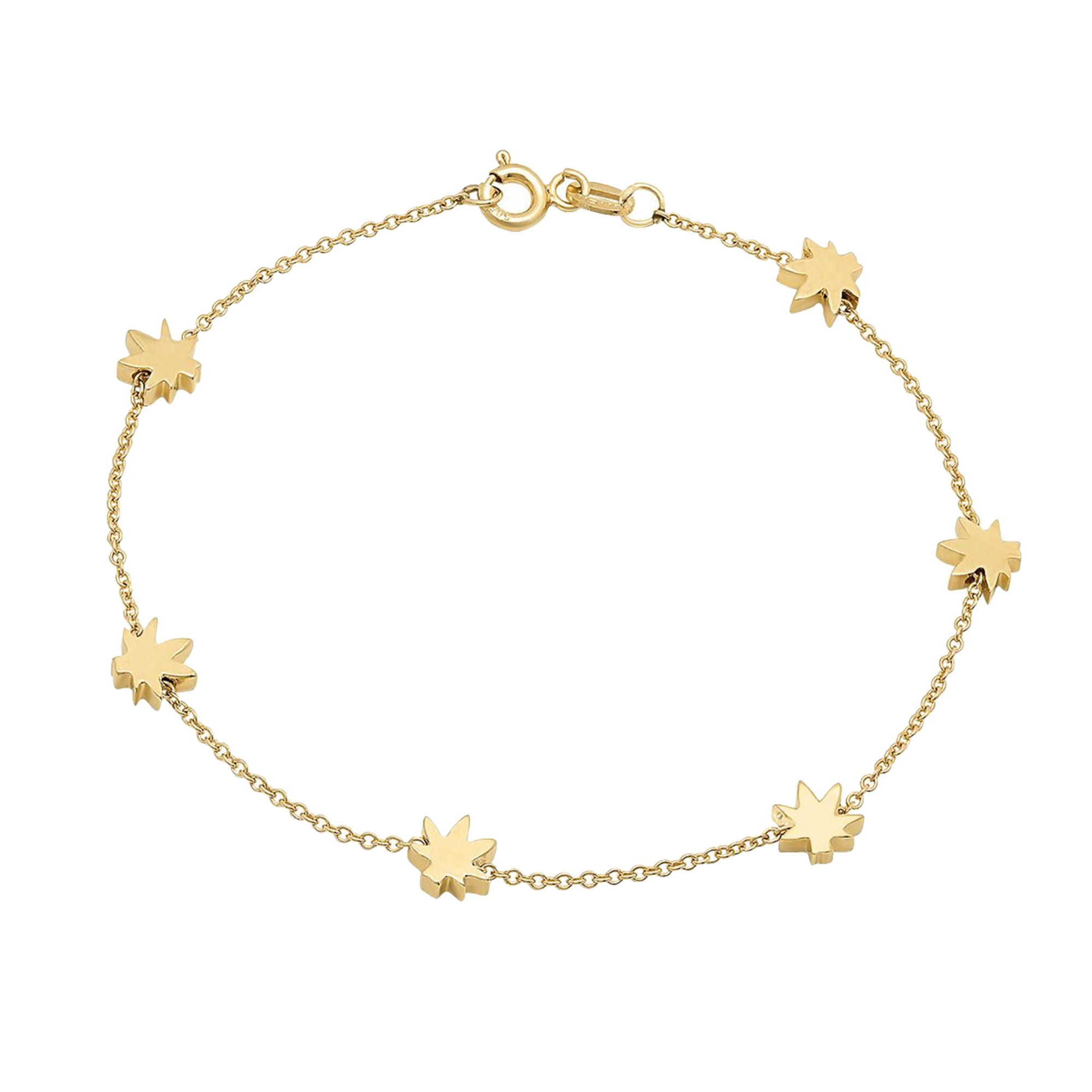 Gold Cannabis Bracelet by Established for Broken English Jewelry
