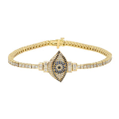 Gold White Diamond Evil Eye Tennis Bracelet by Established for Broken English Jewelry
