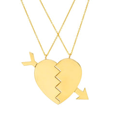 Gold Broken Heart with Arrow Necklace by Established for Broken English Jewelry