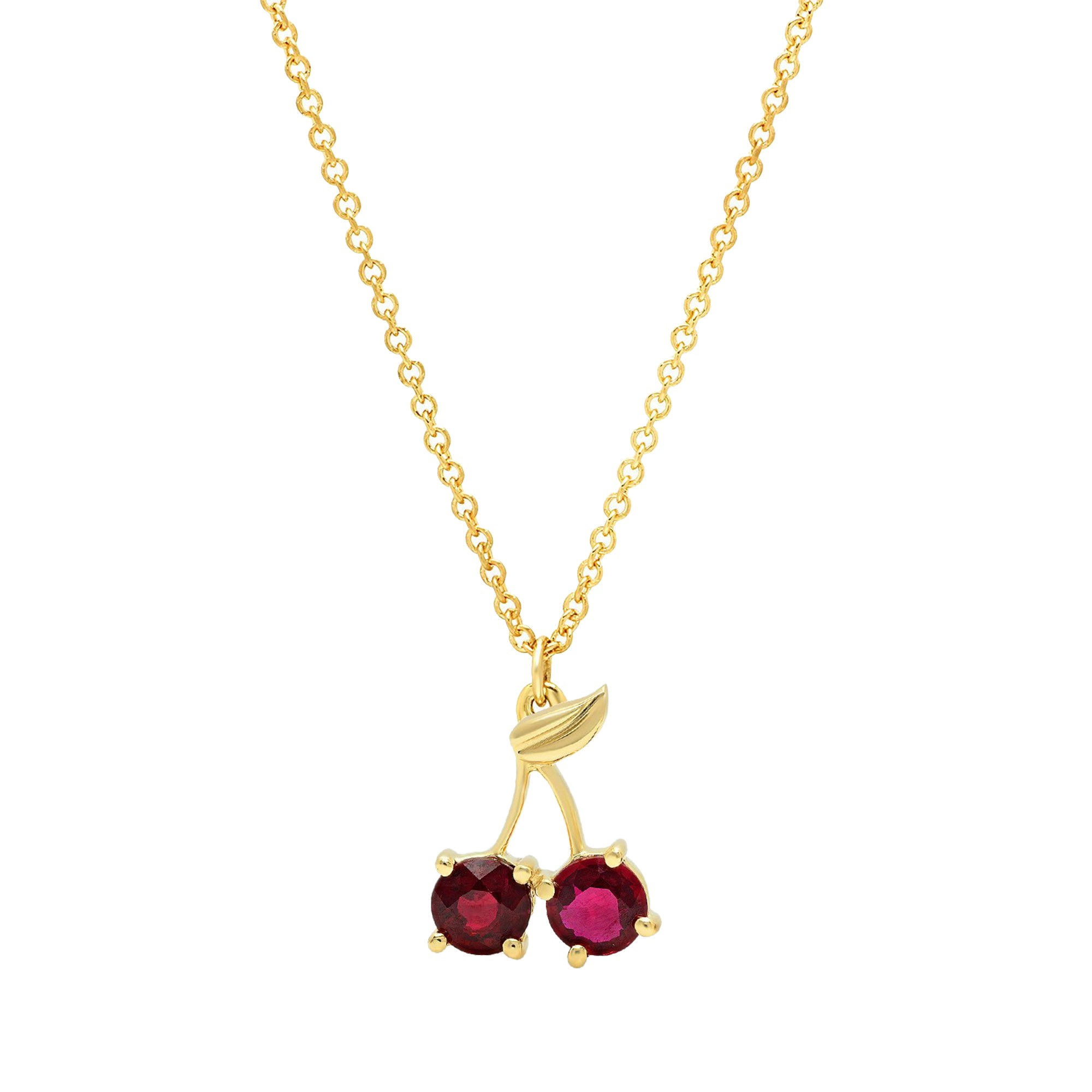 Gold Ruby Cherry Necklace by Established for Broken English Jewelry