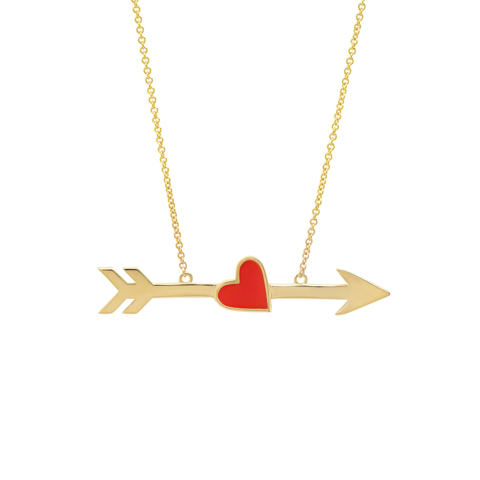 Enamel Heart and Arrow Necklace by Established Jewelry for Broken English Jewelry