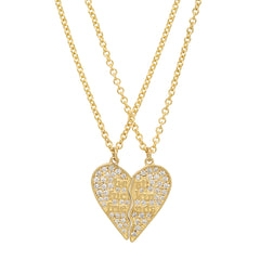 Gold & White Diamond Small BFF Necklace by Established for Broken English Jewelry