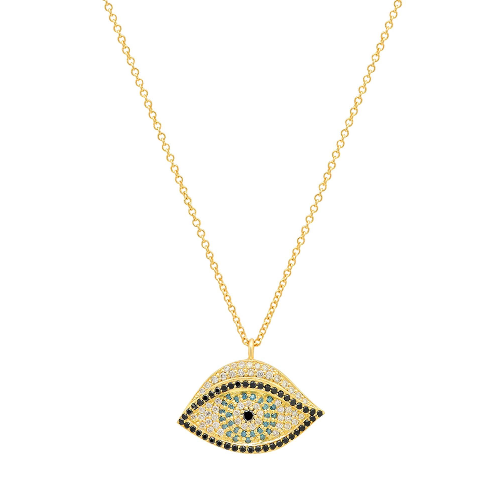 Gold Blue White Diamond Evil Eye Pendant by Established for Broken English Jewelry