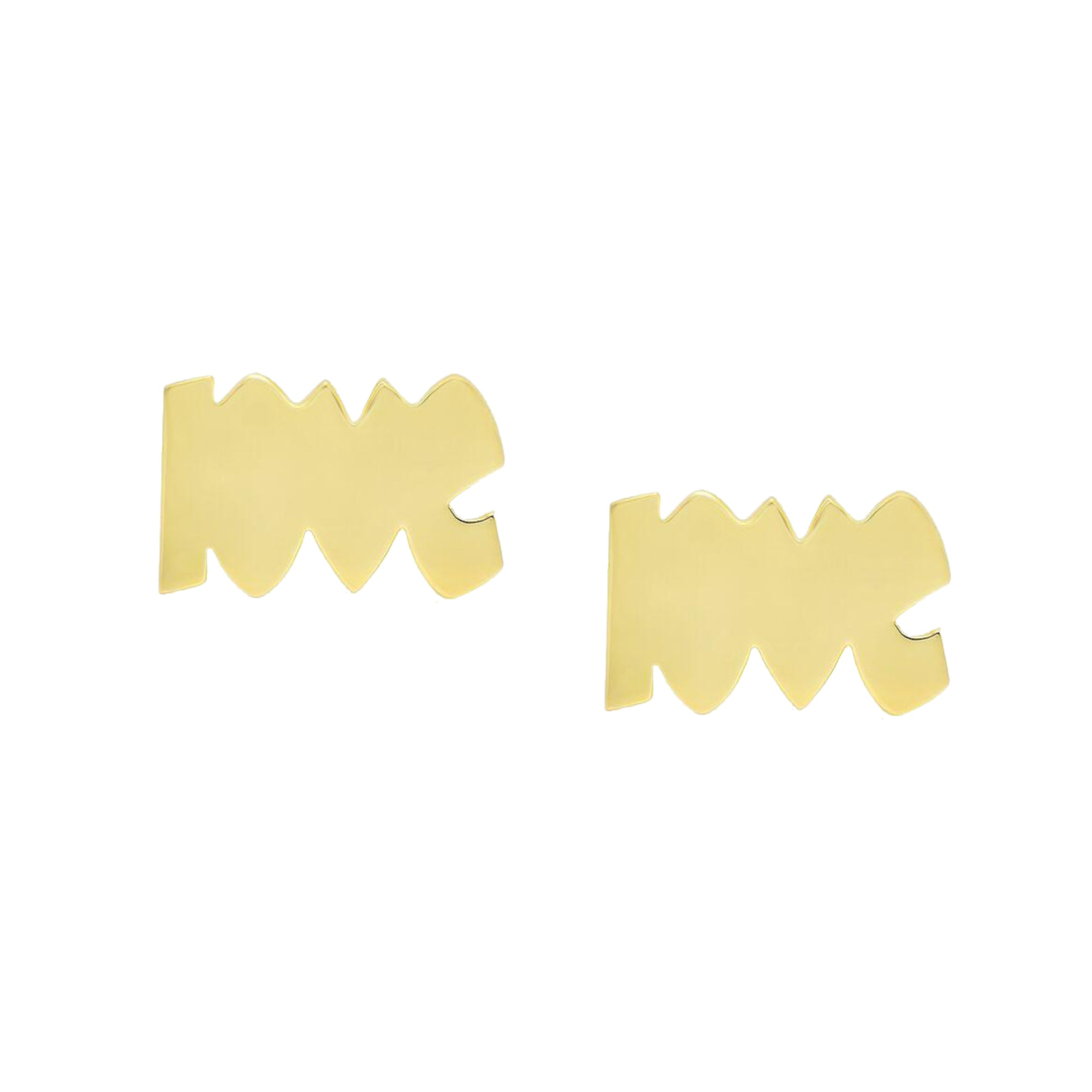"Gold Gold Block Letter ""Love"" Stud by Established for Broken English Jewelry"