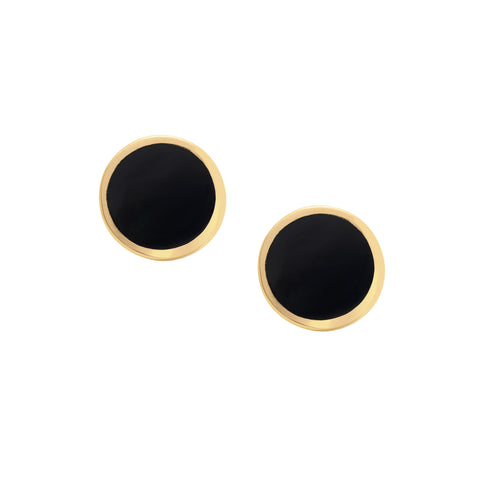 Gold & Enamel Dot Stud by Established for Broken English Jewelry