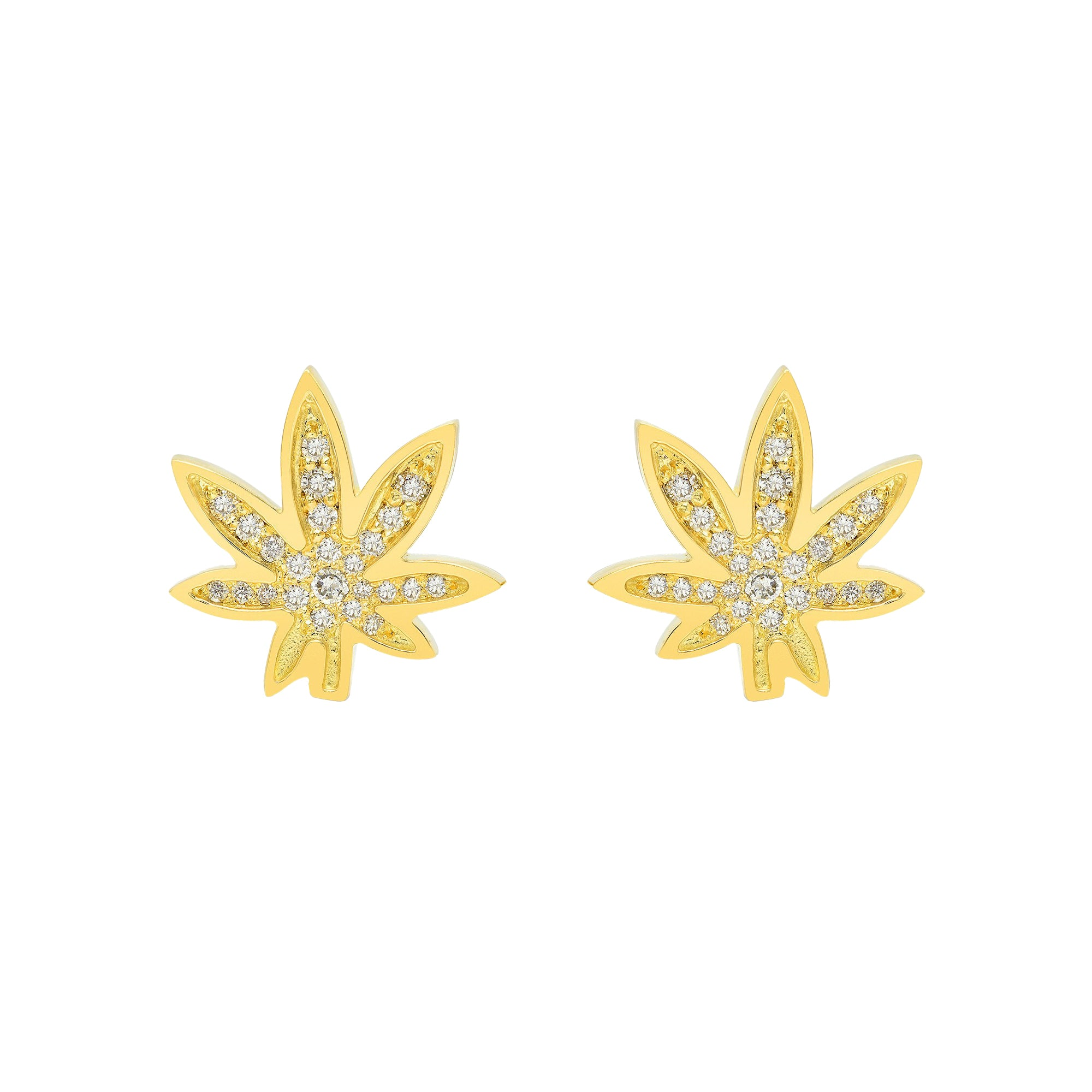 Gold & White Diamond Cannabis Pave Studs by Established for Broken English Jewelry