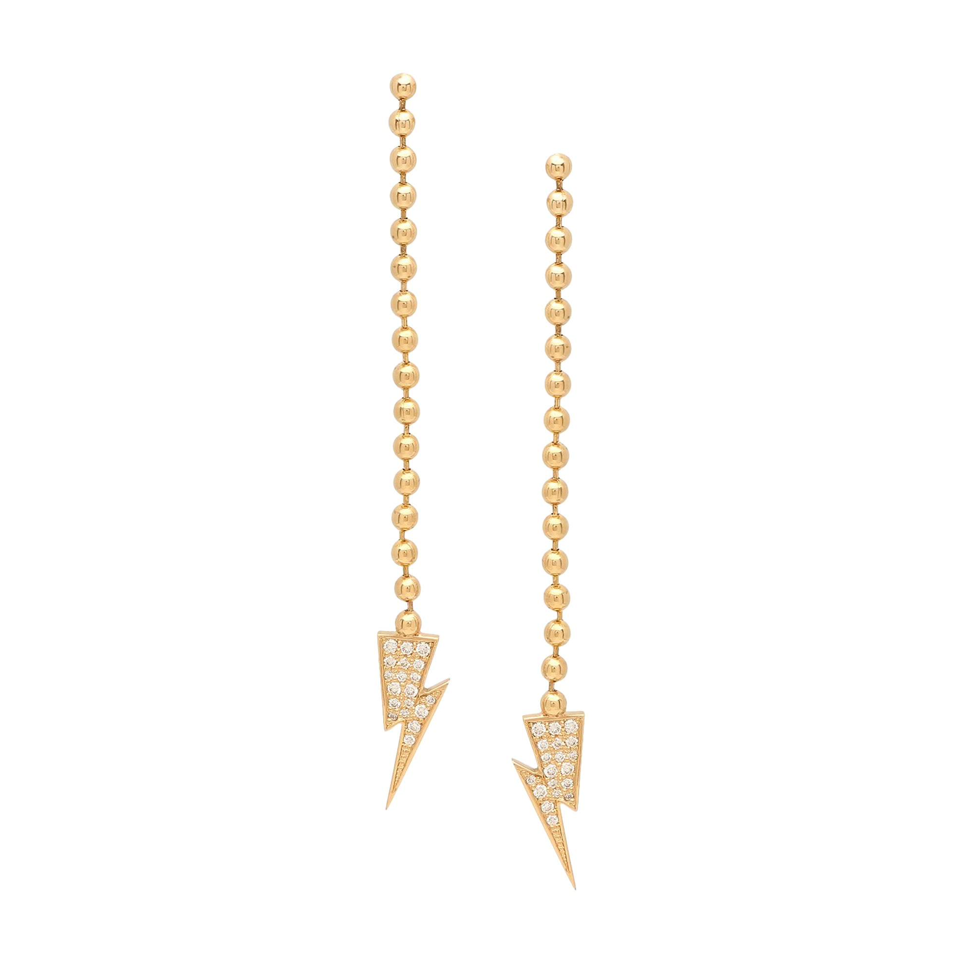 Gold & White Diamond Lighening Bolt Dangle Earring by Established for Broken English Jewelry