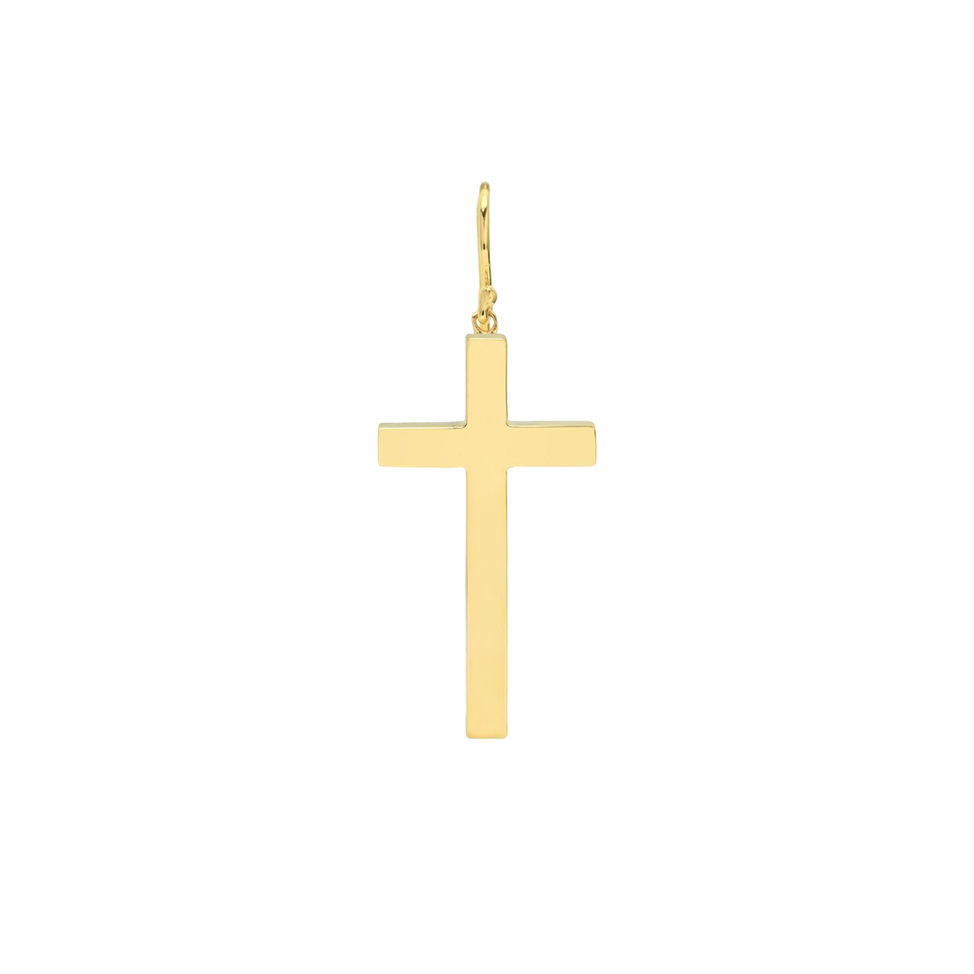 Gold Single Cross Dangle Earring by Established for Broken English Jewelry