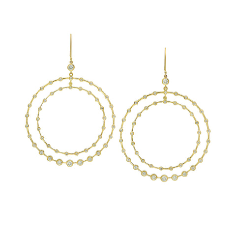 Gold & White Diamond Double Hoop Diamond Earring by Established for Broken English Jewelry