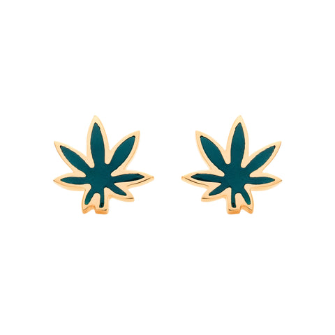 Gold Enamel Cannabis Leaf Studs by Established for Broken English Jewelry