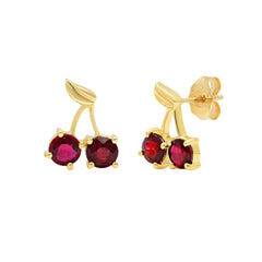 Gold & Ruby Cherry Studs by Established for Broken English Jewelry