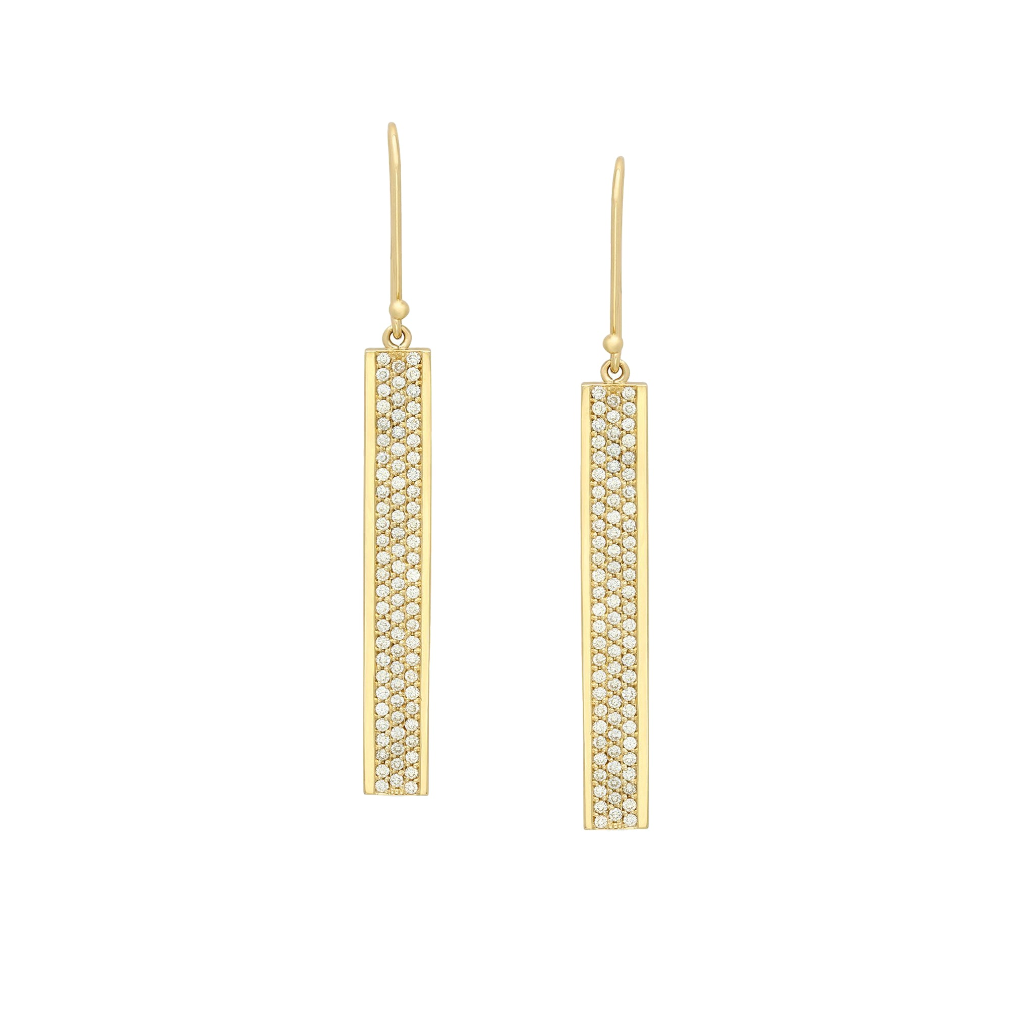 Gold & White Diamond Flat Bar Diamond Earrings by Established for Broken English Jewelry