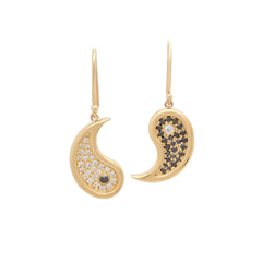 Gold White Black Diamond Ying Yang Earrings by Established for Broken English Jewelry