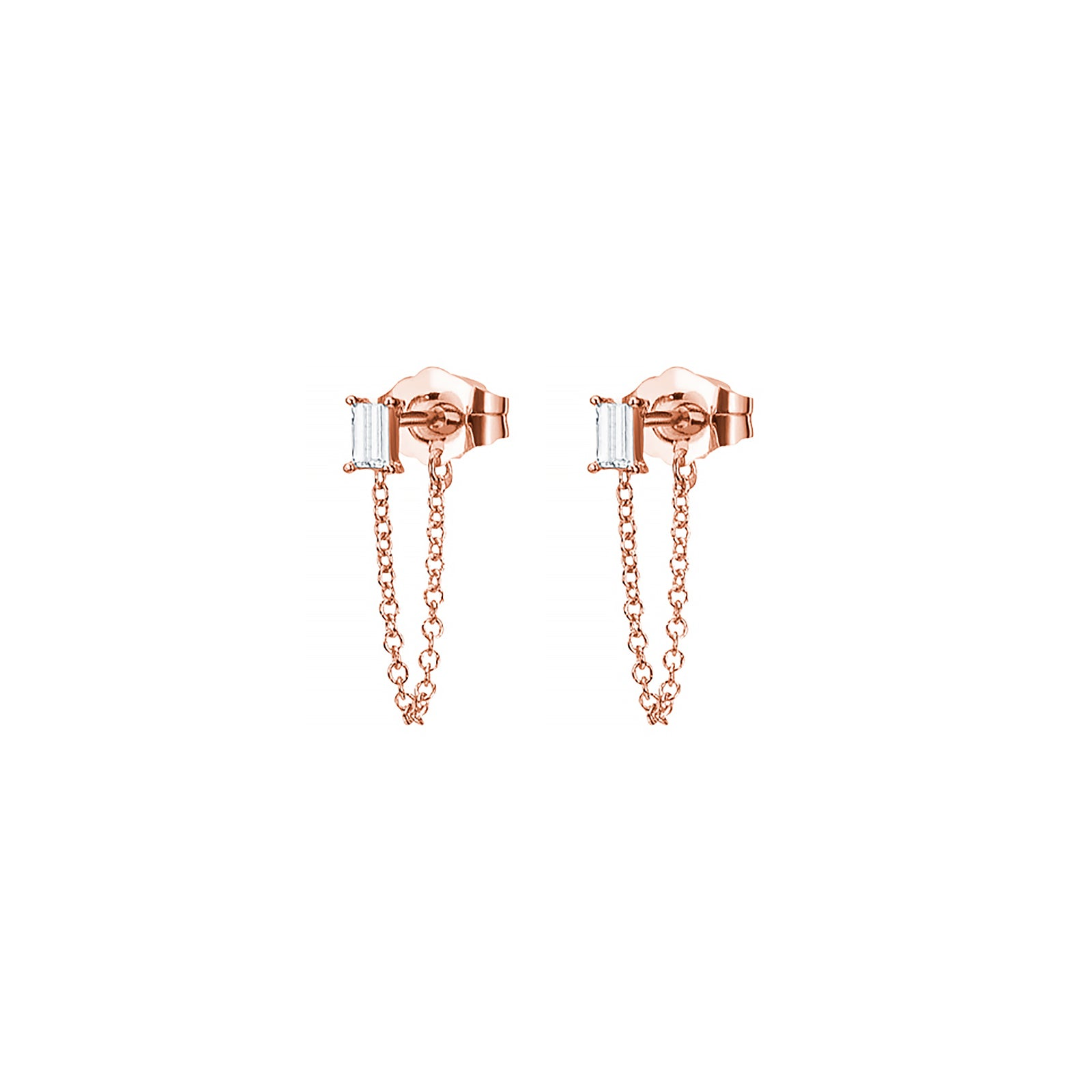 Carbon & Hyde Baguette Diamond Chain Huggies - Rose Gold - Earrings - Broken English Jewelry