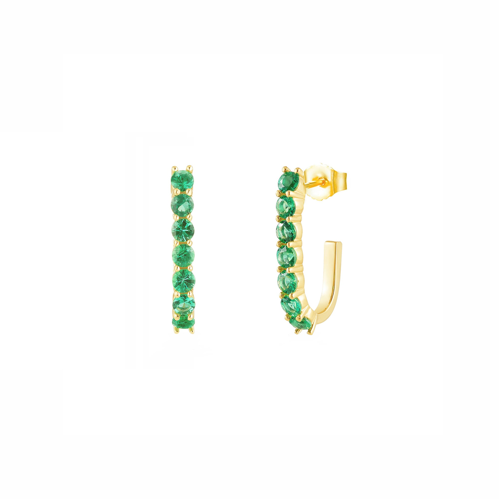 Carbon & Hyde Sparkler Pin Earrings - Emerald - Necklaces - Broken English Jewelry