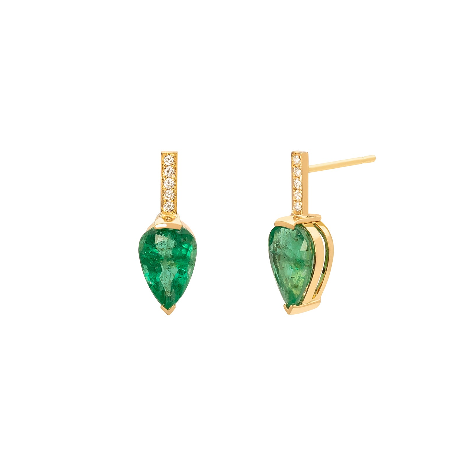 YI Collection Dewdrop Earrings - Emerald & Diamond - Earrings - Broken English Jewelry