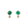 YI Collection Emerald & Diamond Dot Studs - Earrings - Broken English Jewelry