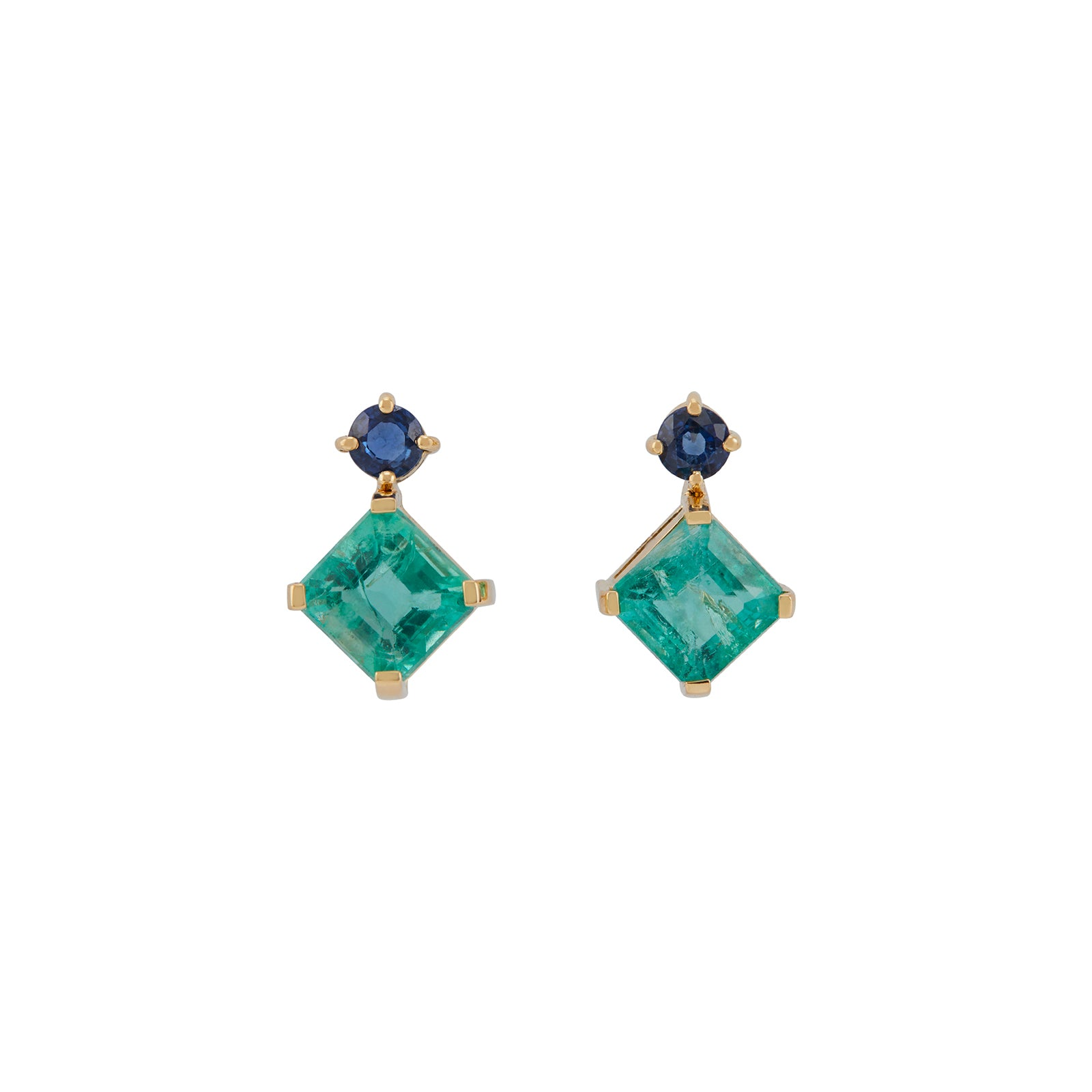 YI Collection Sapphire & Emerald Geometry Earrings - Earrings - Broken English Jewelry