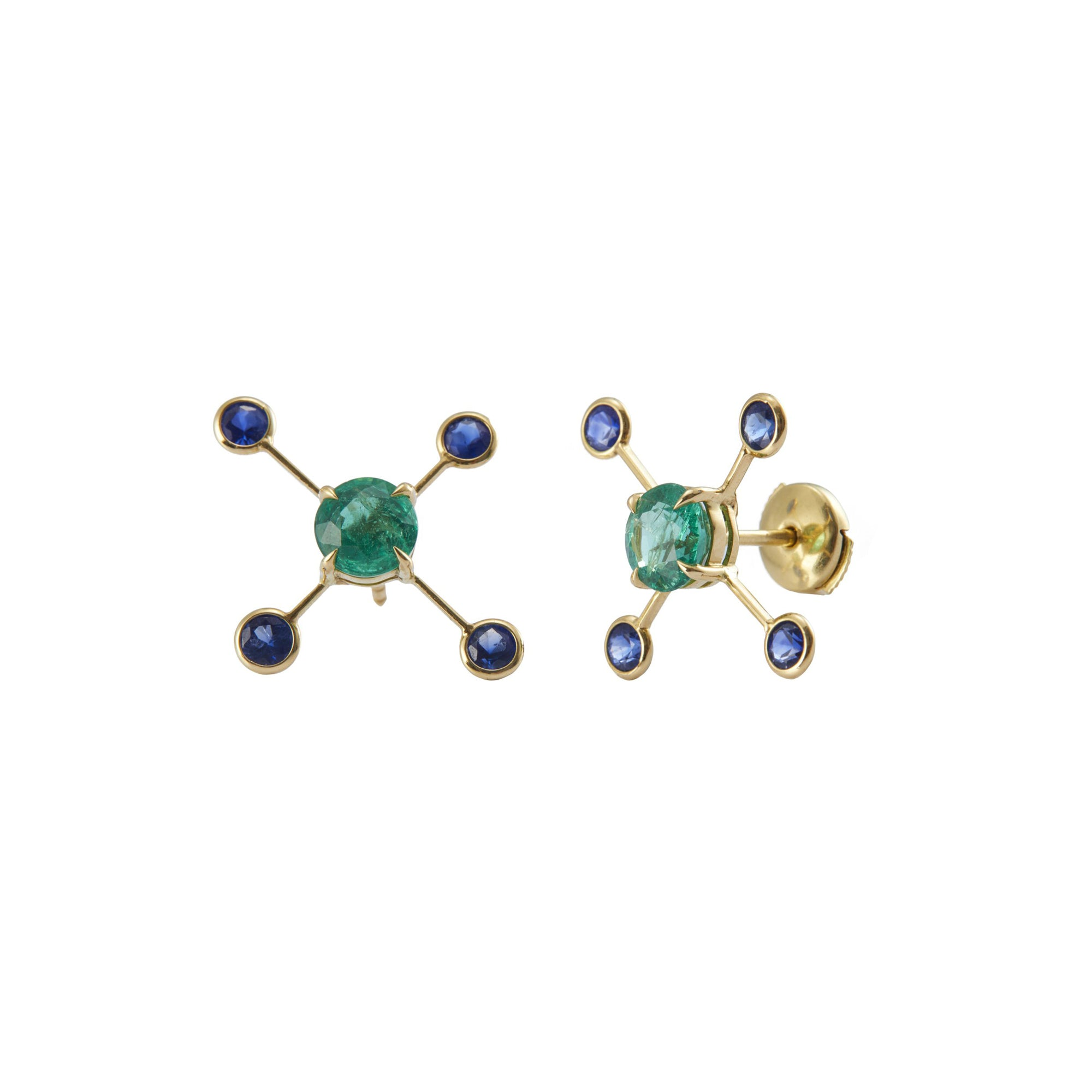 YI Collection Supernova Earrings - Emerald & Sapphire - Earrings - Broken English Jewelry