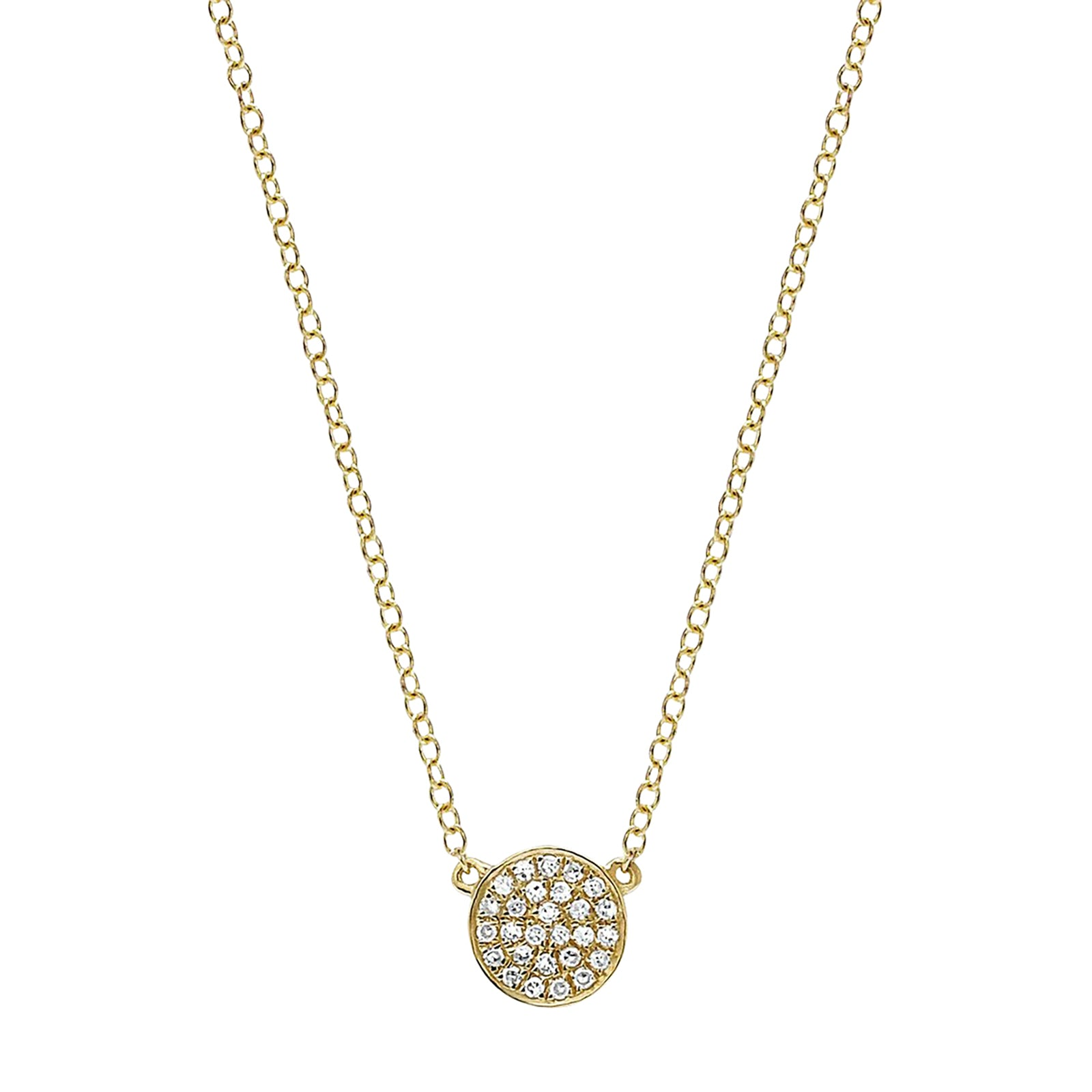 EF Collection Mini Diamond Disk Necklace - Yellow Gold - Necklaces - Broken English Jewelry