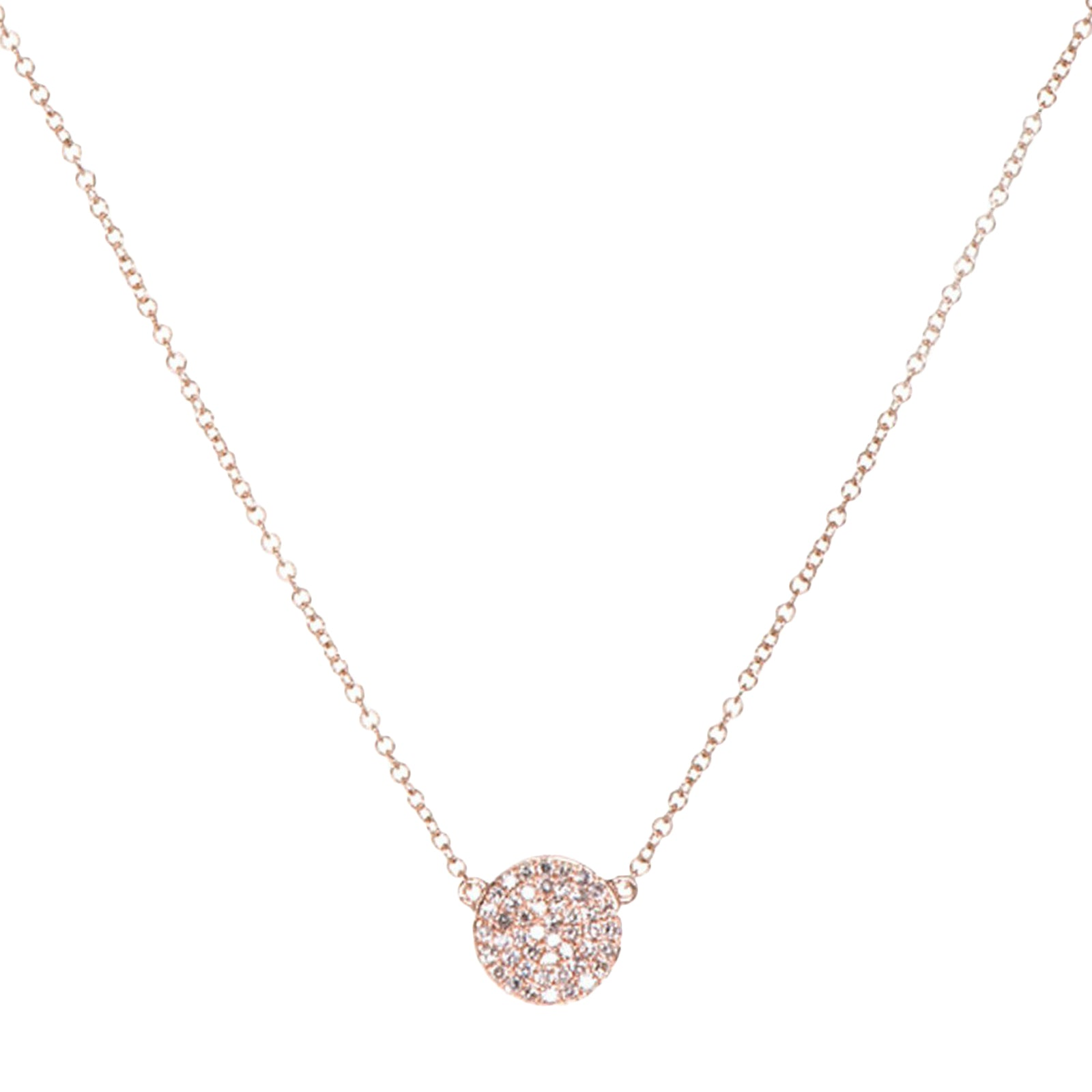 EF Collection Diamond Disk Necklace - Rose Gold - Necklaces - Broken English Jewelry