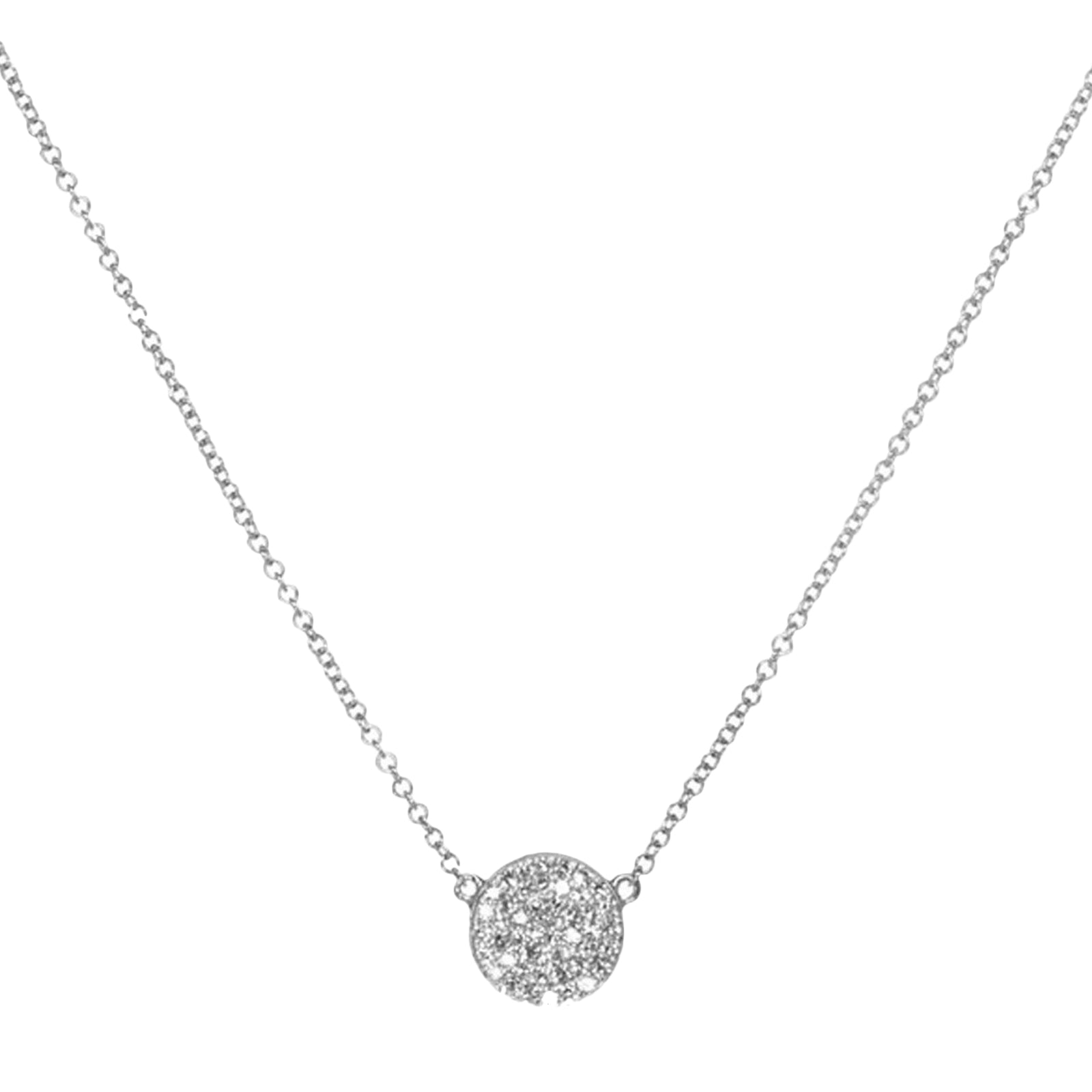 EF Collection Diamond Disk Necklace - White Gold - Necklaces - Broken English Jewelry