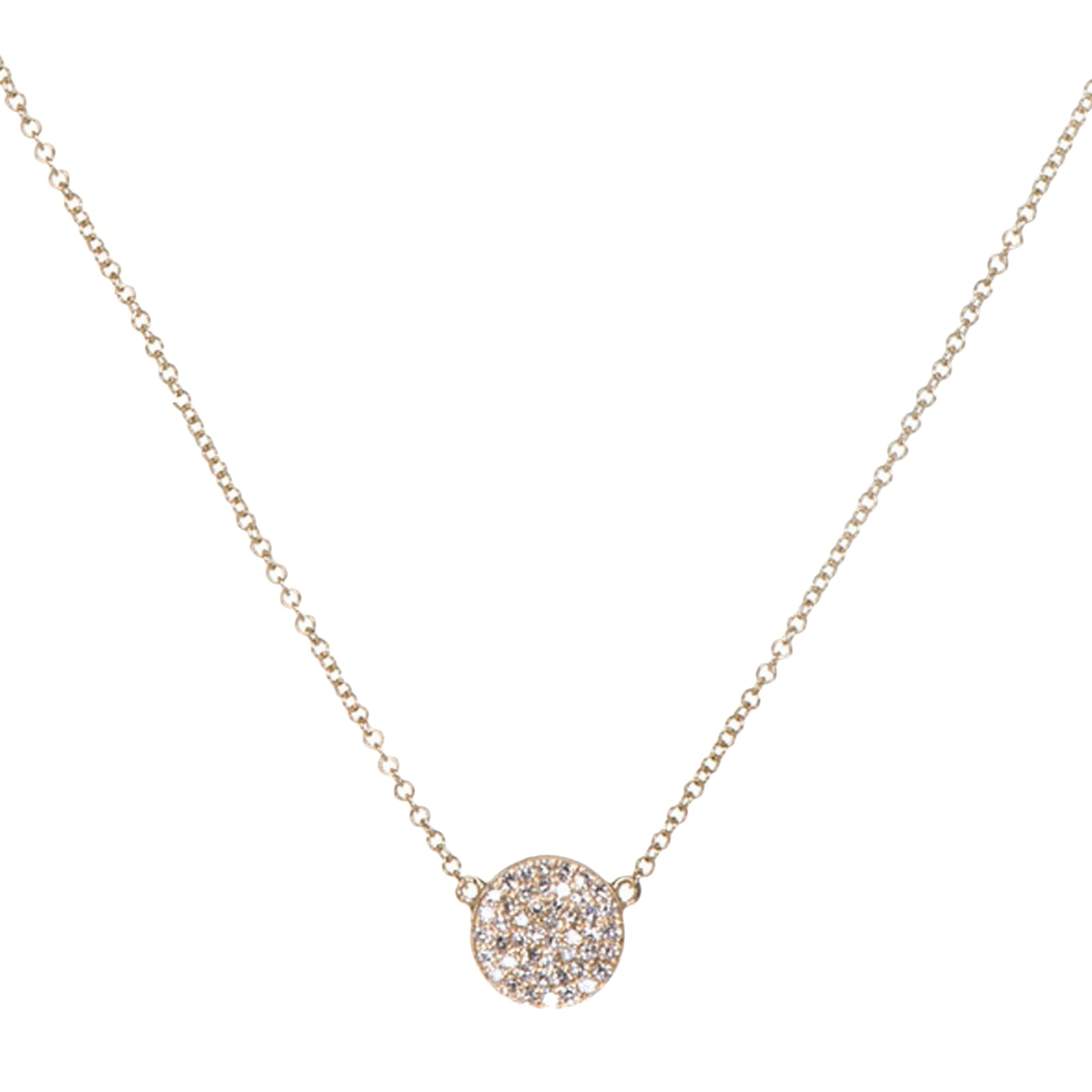 EF Collection Diamond Disk Necklace - Yellow Gold - Necklaces - Broken English Jewelry
