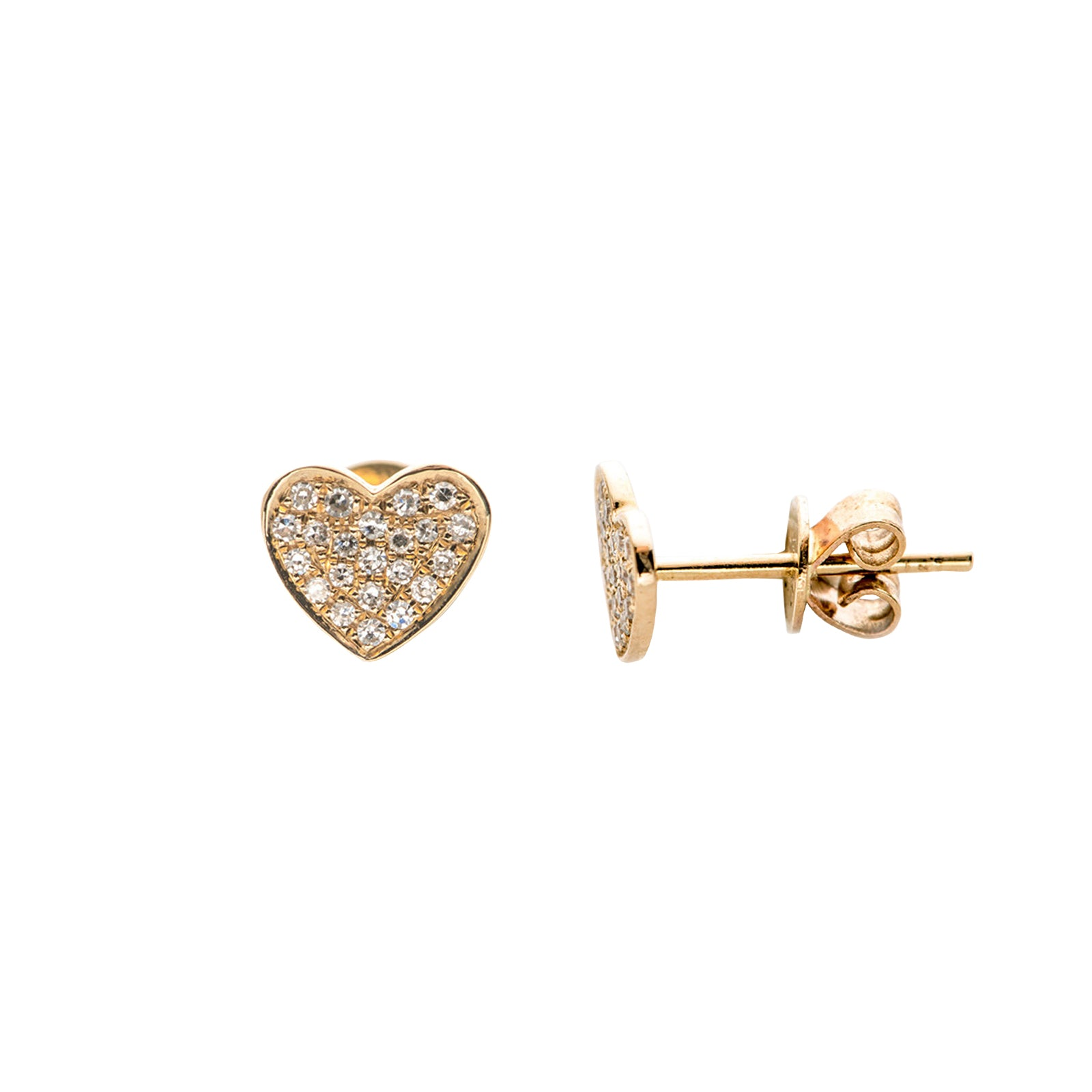 EF Collection Heart Studs - Yellow Gold - Earrings - Broken English Jewelry