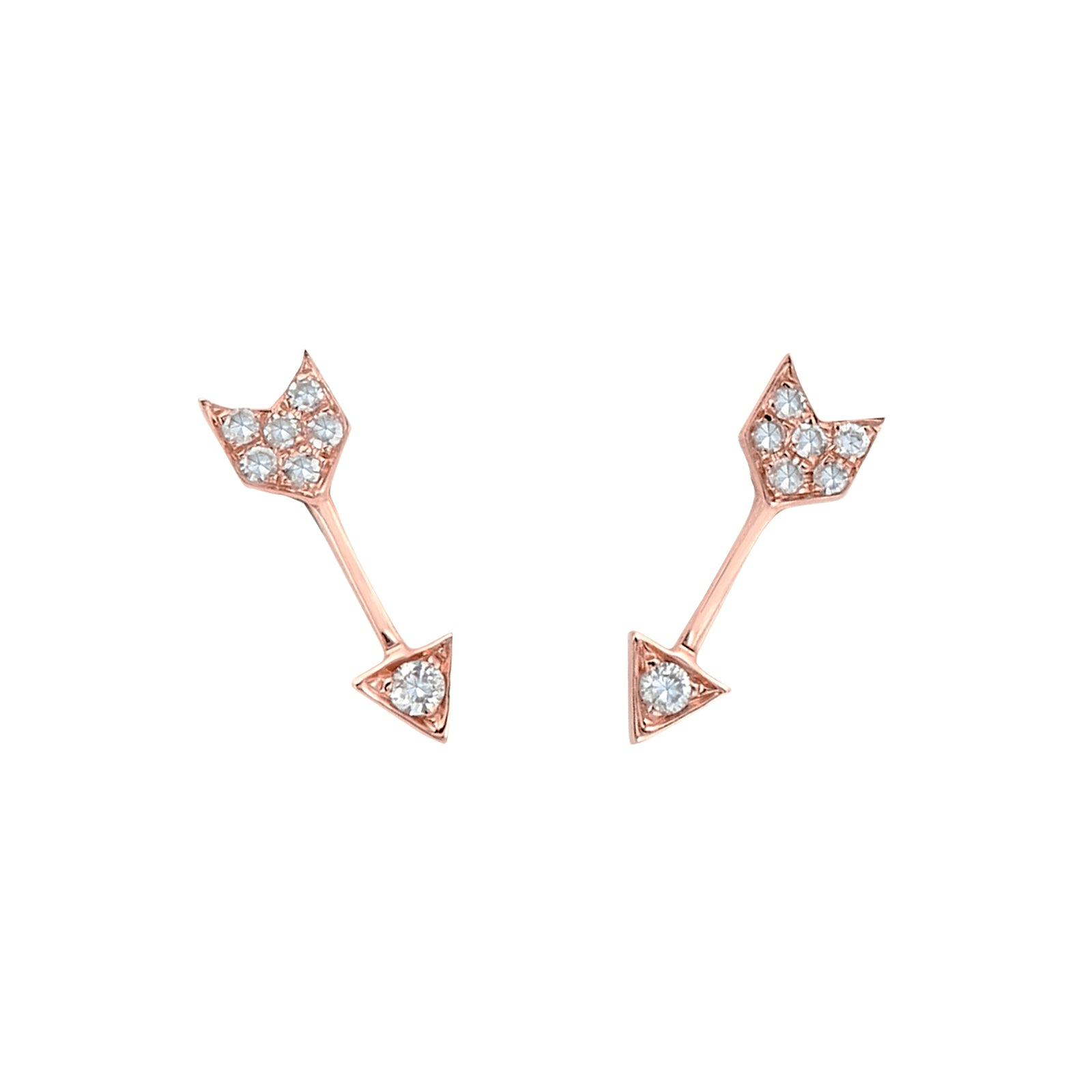 EF Collection Mini Arrow Studs - Rose Gold - Earrings - Broken English Jewelry