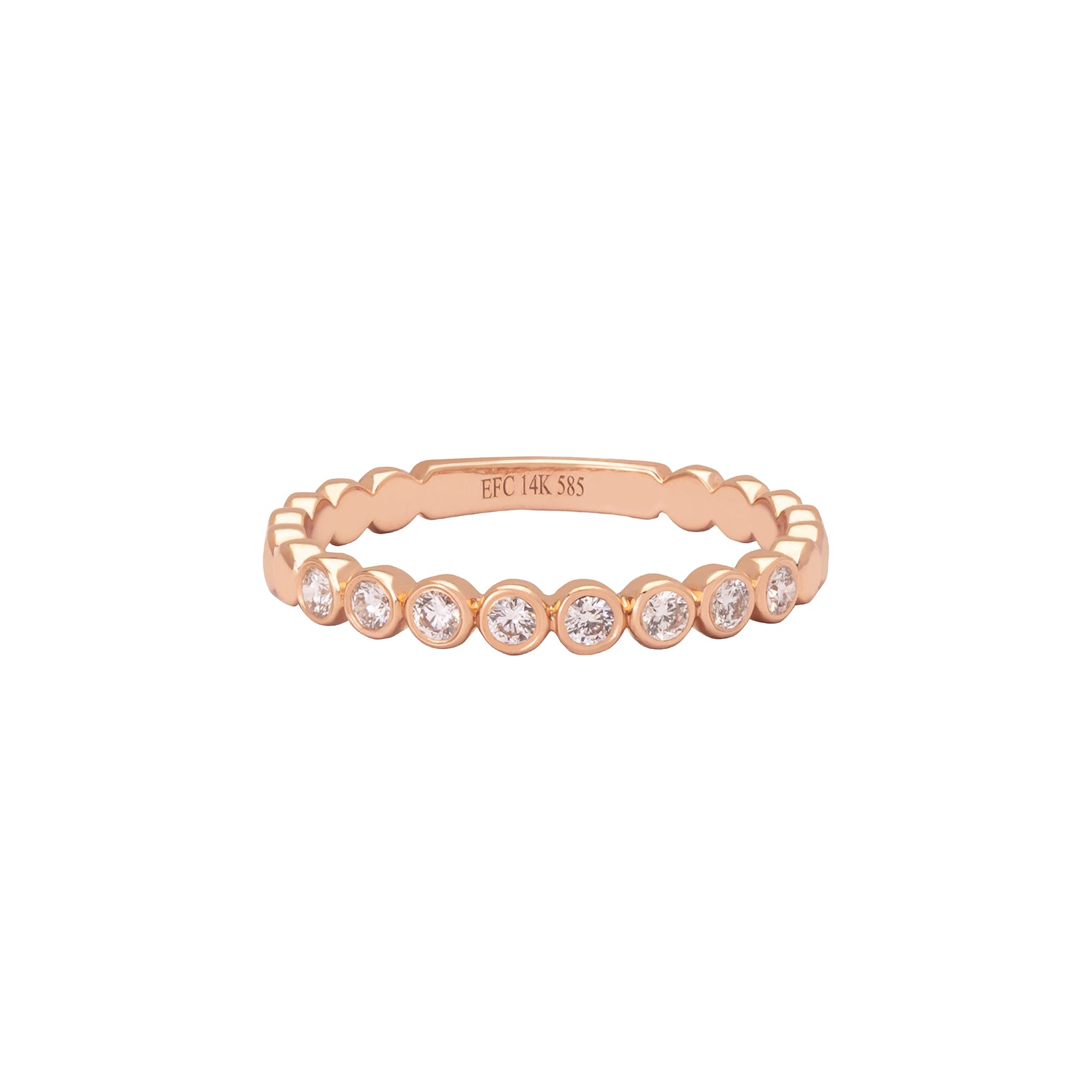 EF Collection Diamond Bezel Stack Ring - Rose Gold - Rings - Broken English Jewelry