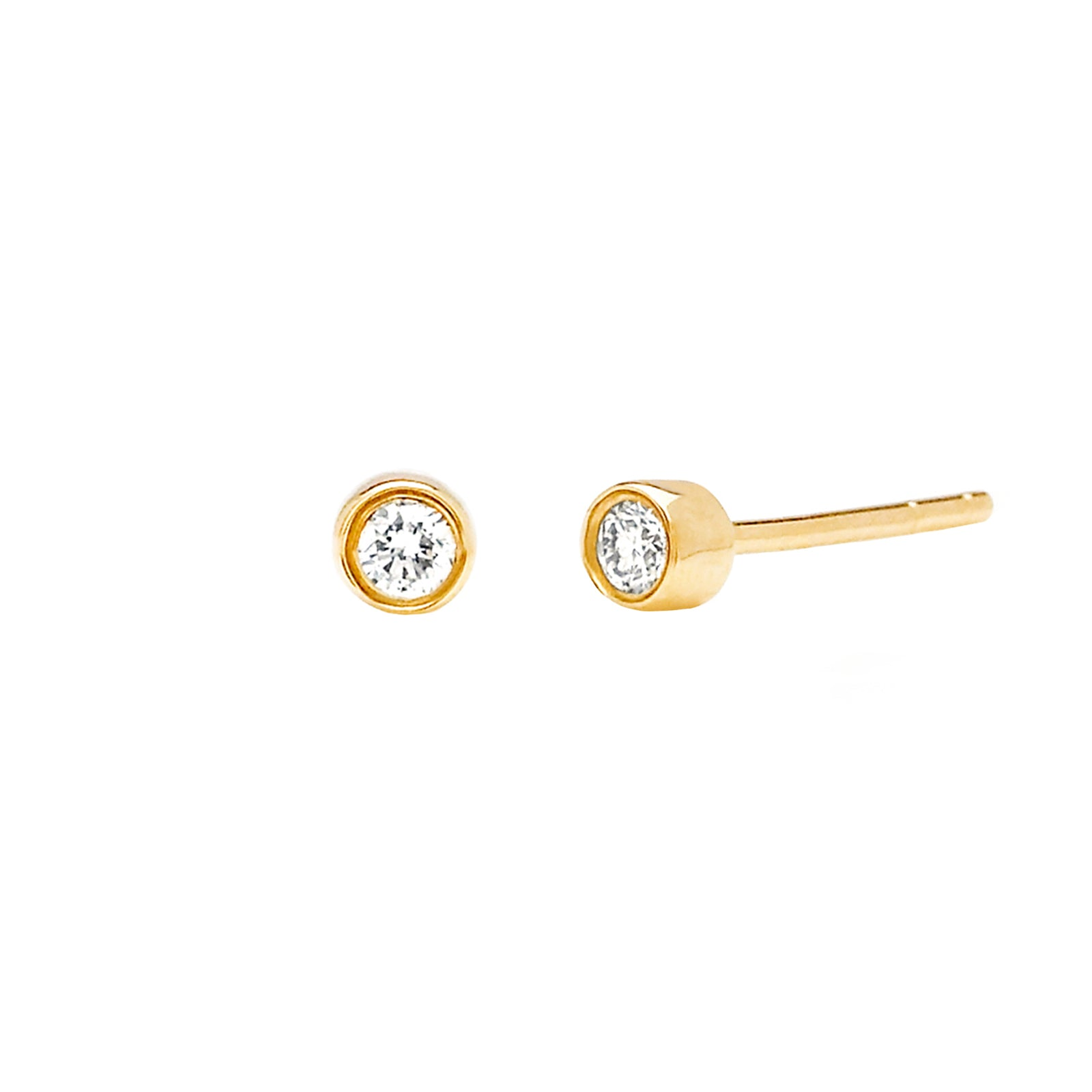 EF Collection Diamond Bezel Stud - Yellow Gold - Earrings - Broken English Jewelry