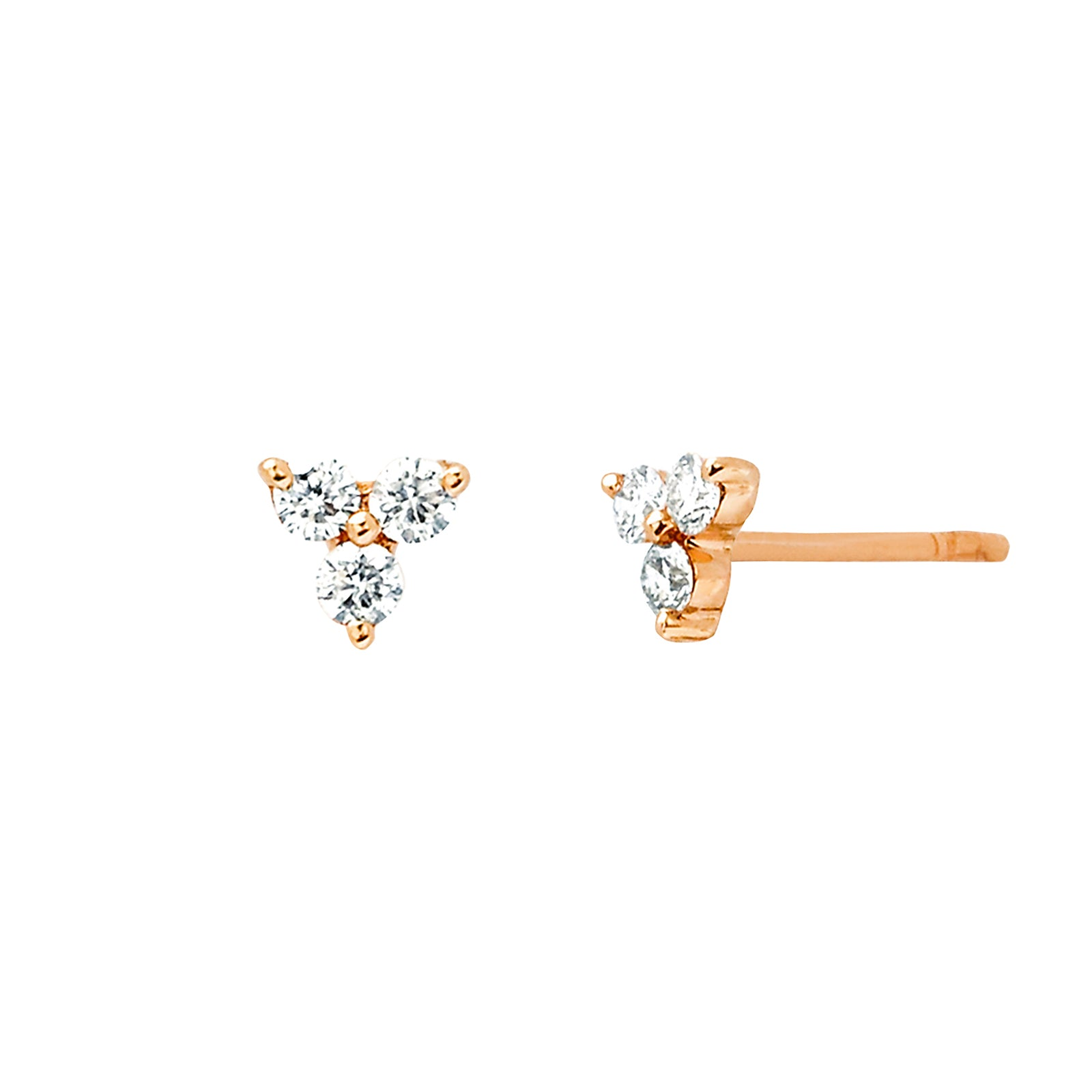 EF Collection Trio Stud - Rose Gold - Earrings - Broken English Jewelry