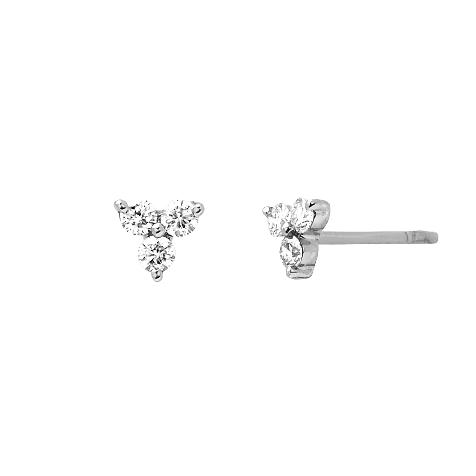 EF Collection Trio Stud - White Gold - Earrings - Broken English Jewelry