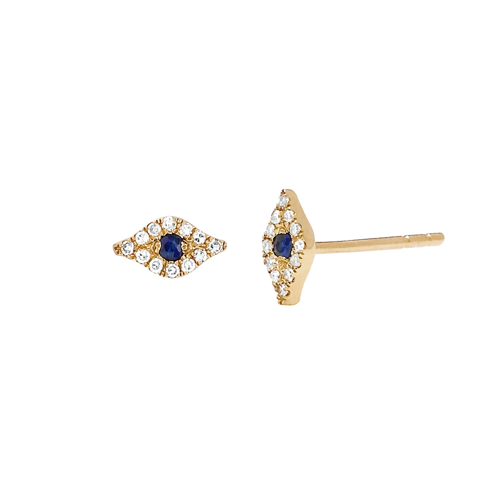 EF Collection Diamond Evil Eye Studs - Sapphire - Earrings - Broken English Jewelry