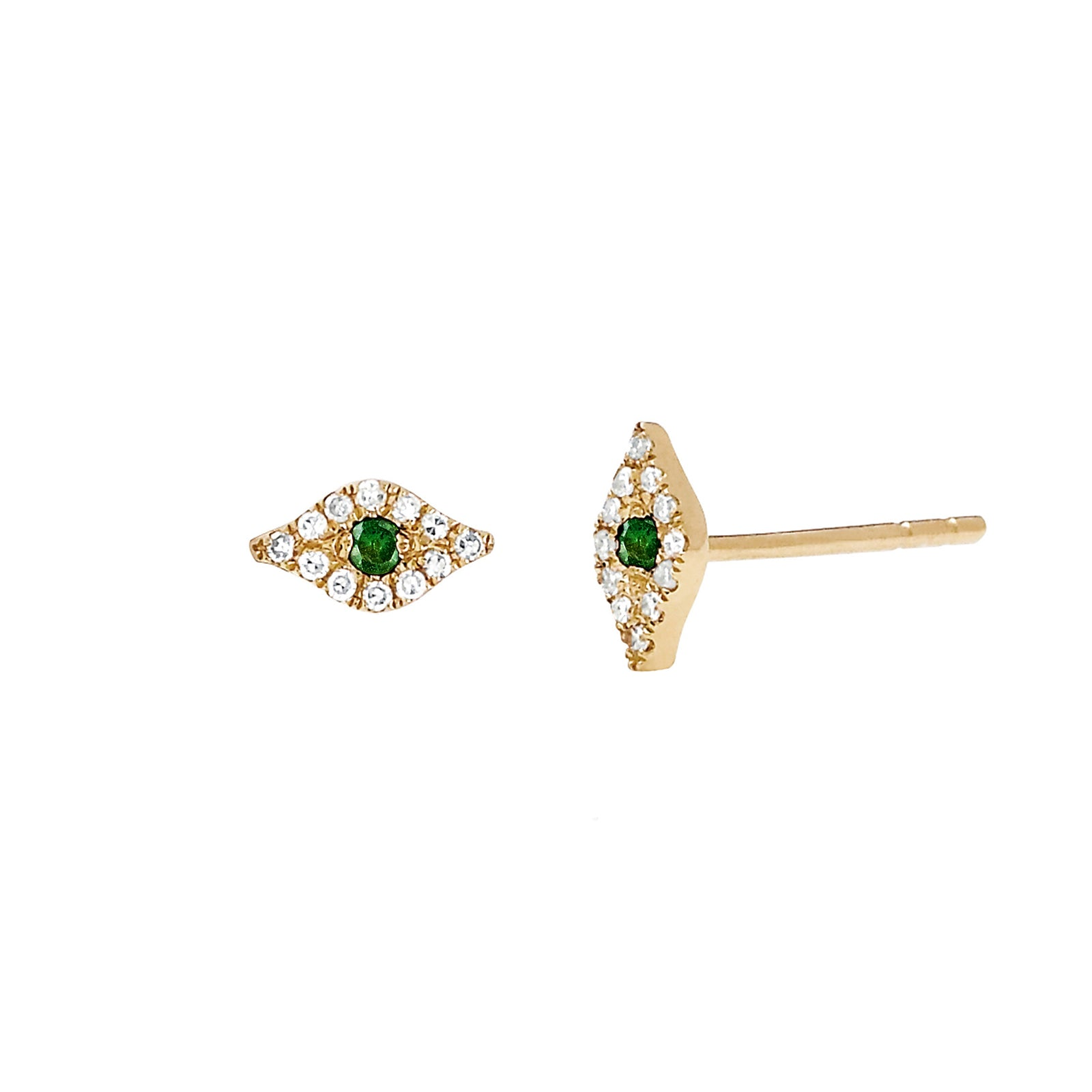 EF Collection Diamond Evil Eye Studs - Tsavorite - Earrings - Broken English Jewelry