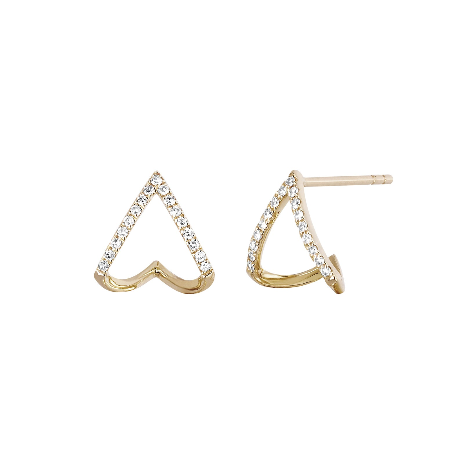 EF Collection Chevron Diamond Huggies - Yellow Gold - Earrings - Broken English Jewelry
