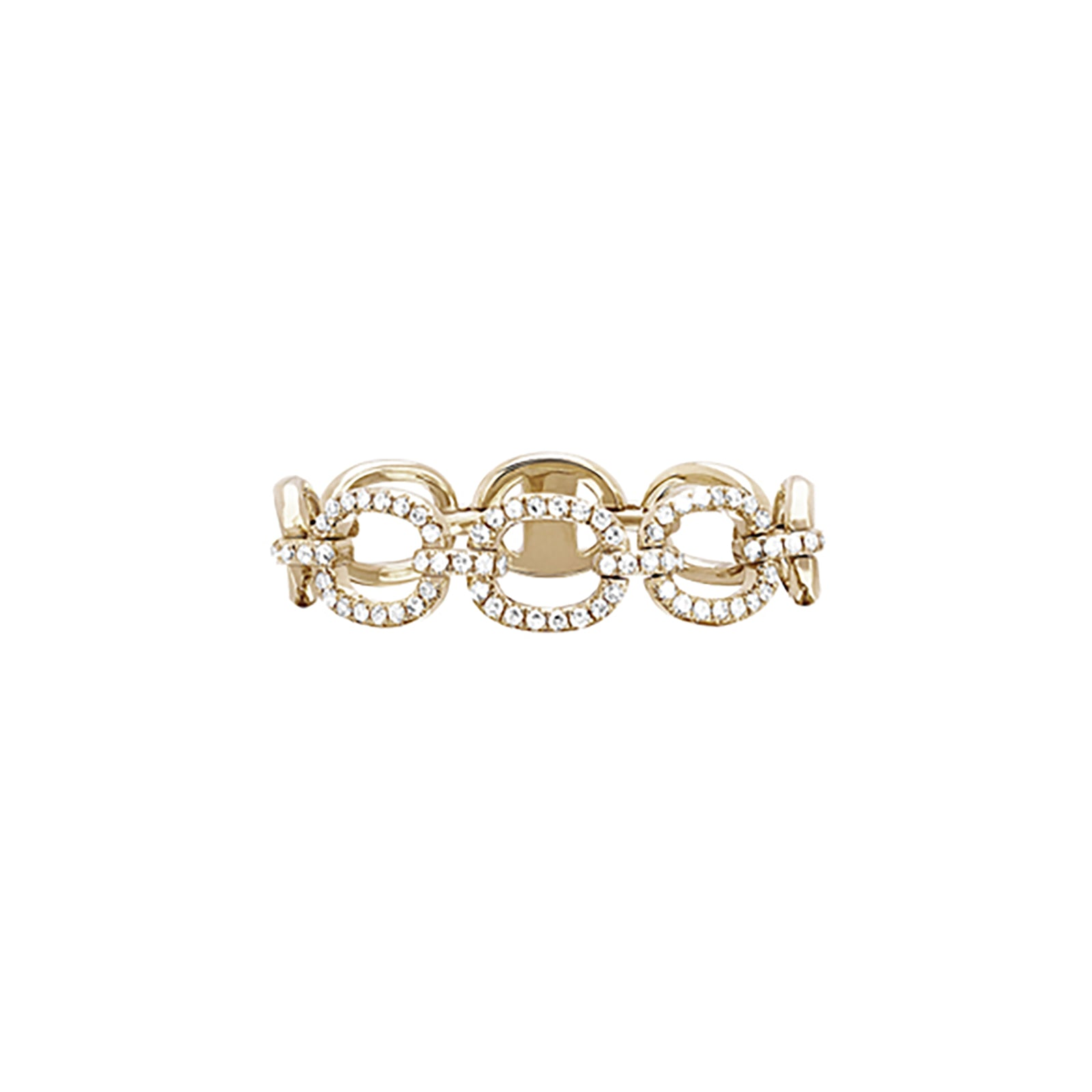 EF Collection Chain Link Diamond Ring - Yellow Gold - Rings - Broken English Jewelry