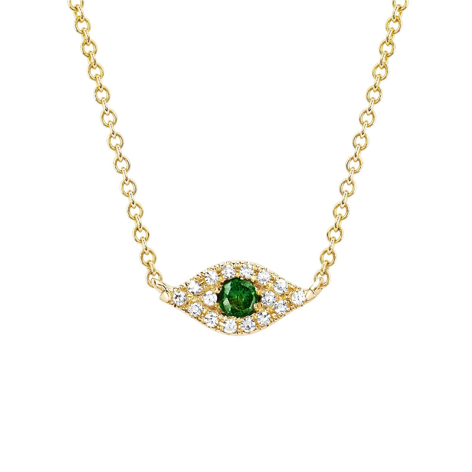 Tsavorite Evil Eye Necklace