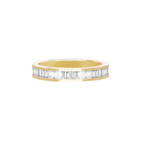 Half Diamond Vertical Baguette Ring
