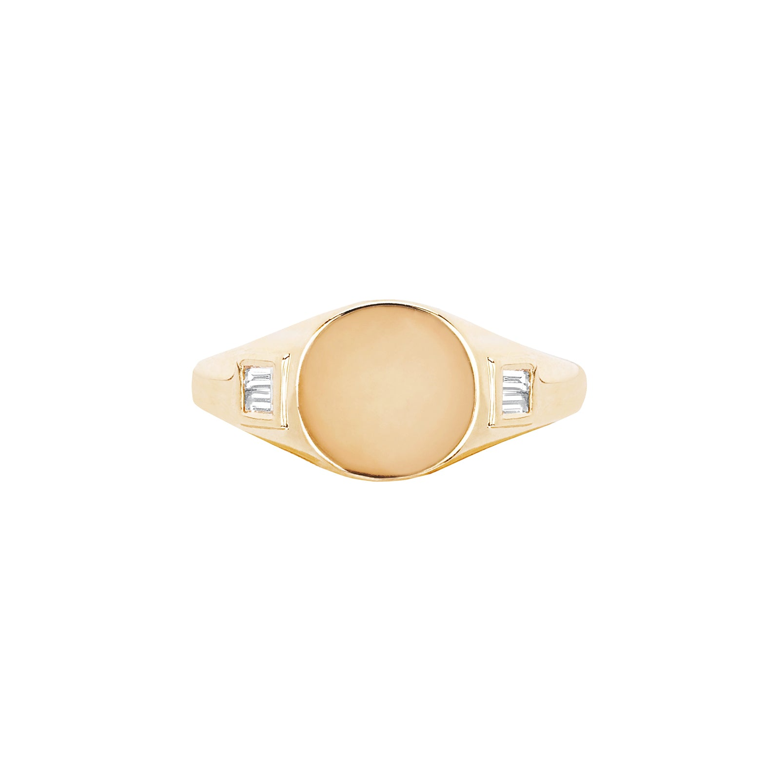 EF Collection Baguette Signet Ring - Yellow Gold - Rings - Broken English Jewelry