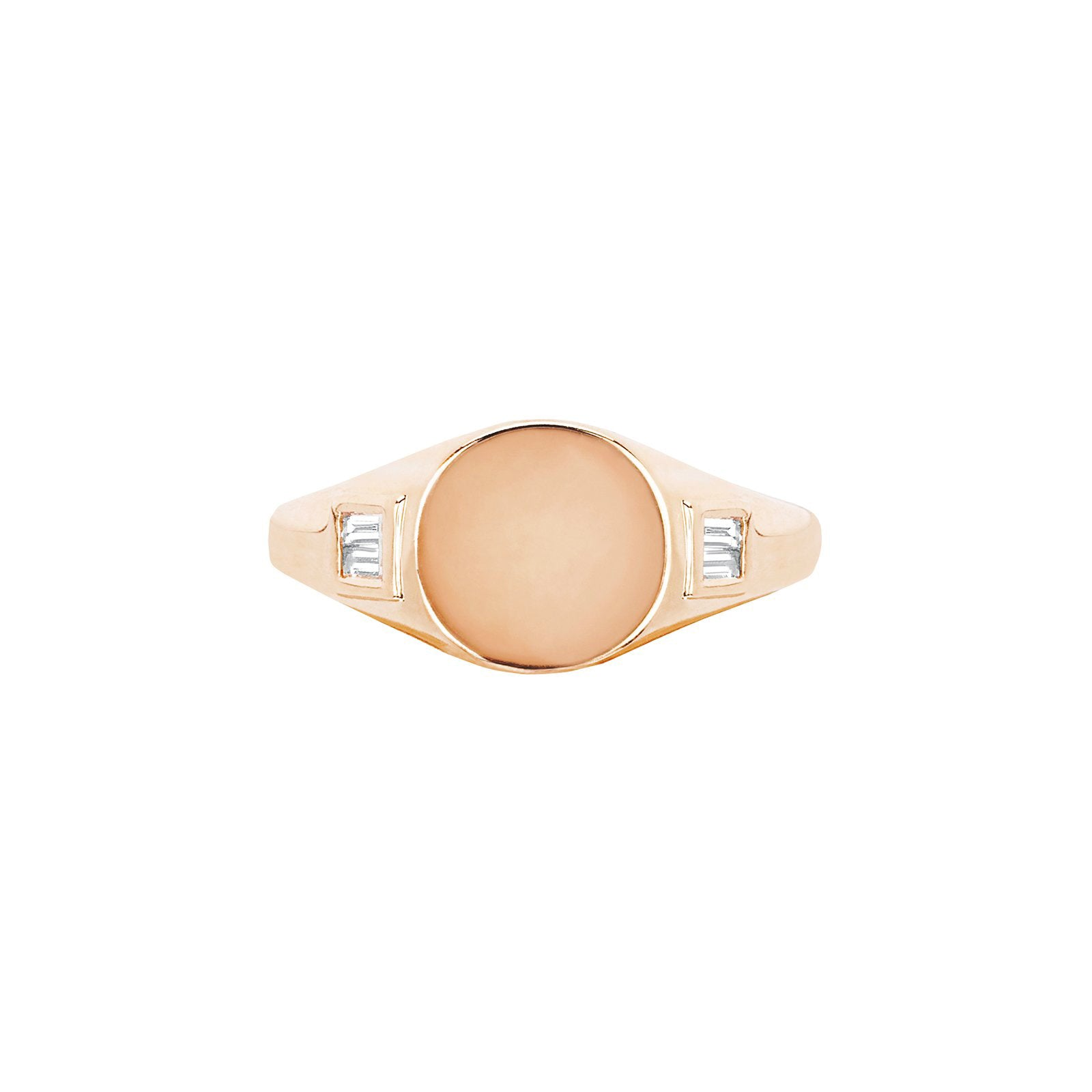 EF Collection Baguette Signet Ring - Rose Gold - Rings - Broken English Jewelry