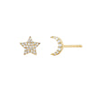 EF Collection Diamond Moon & Star Stud Earrings - Yellow Gold - Earrings - Broken English Jewelry