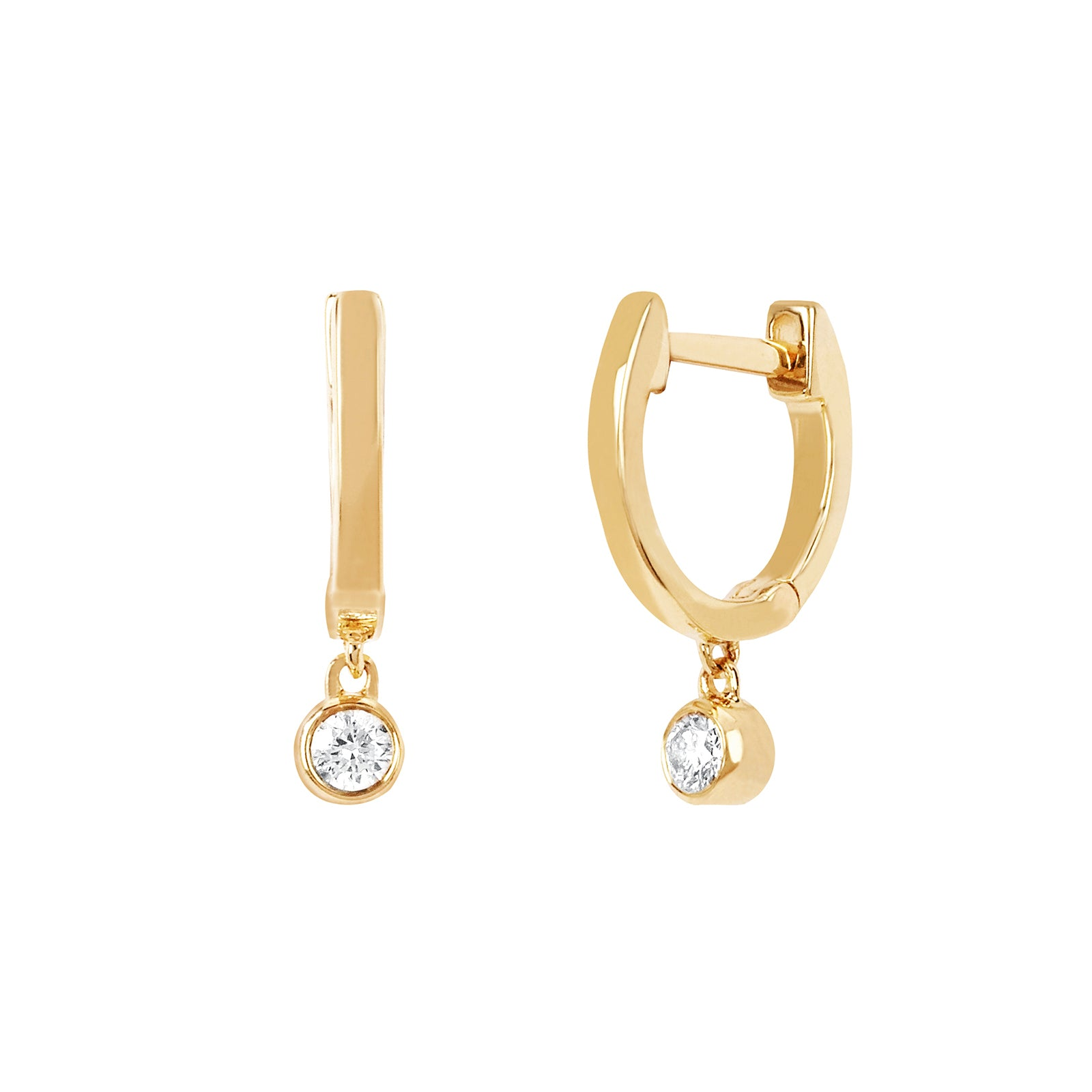EF Collection Mini Huggie Diamond Bezel Earrings - Yellow Gold - Earrings - Broken English Jewelry