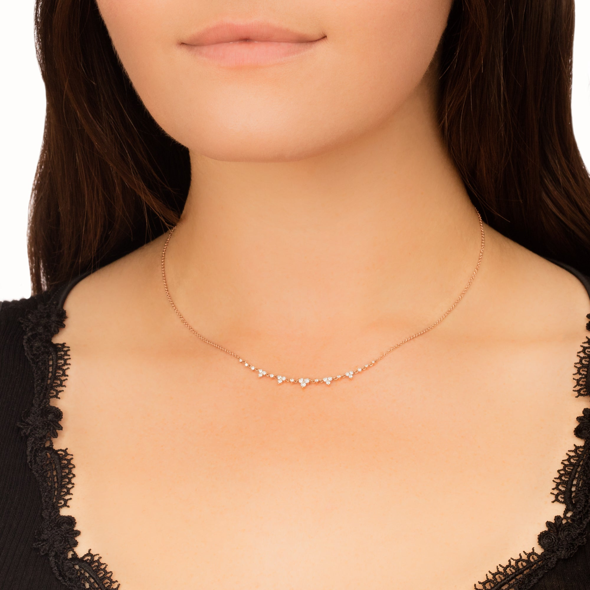 Diamond Trio Tiara Necklace - EF Collection - necklaces | Broken English Jewelry