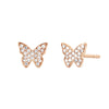 EF Collection Diamond Butterfly Studs - Rose Gold - Earrings - Broken English Jewelry