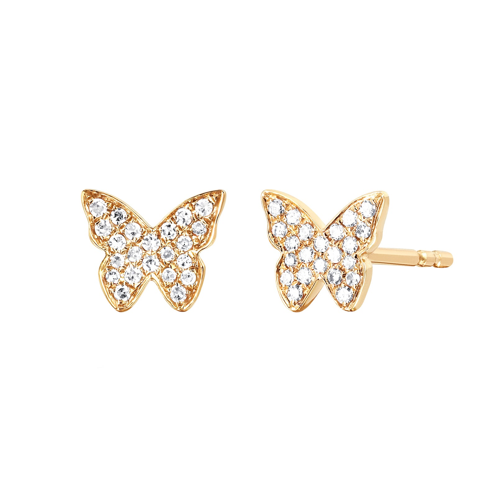 EF Collection Diamond Butterfly Studs - Yellow Gold - Earrings - Broken English Jewelry