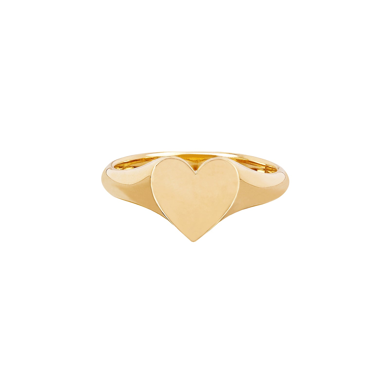 EF Collection Heart Signet Pinky Ring - Yellow Gold - Rings - Broken English Jewelry