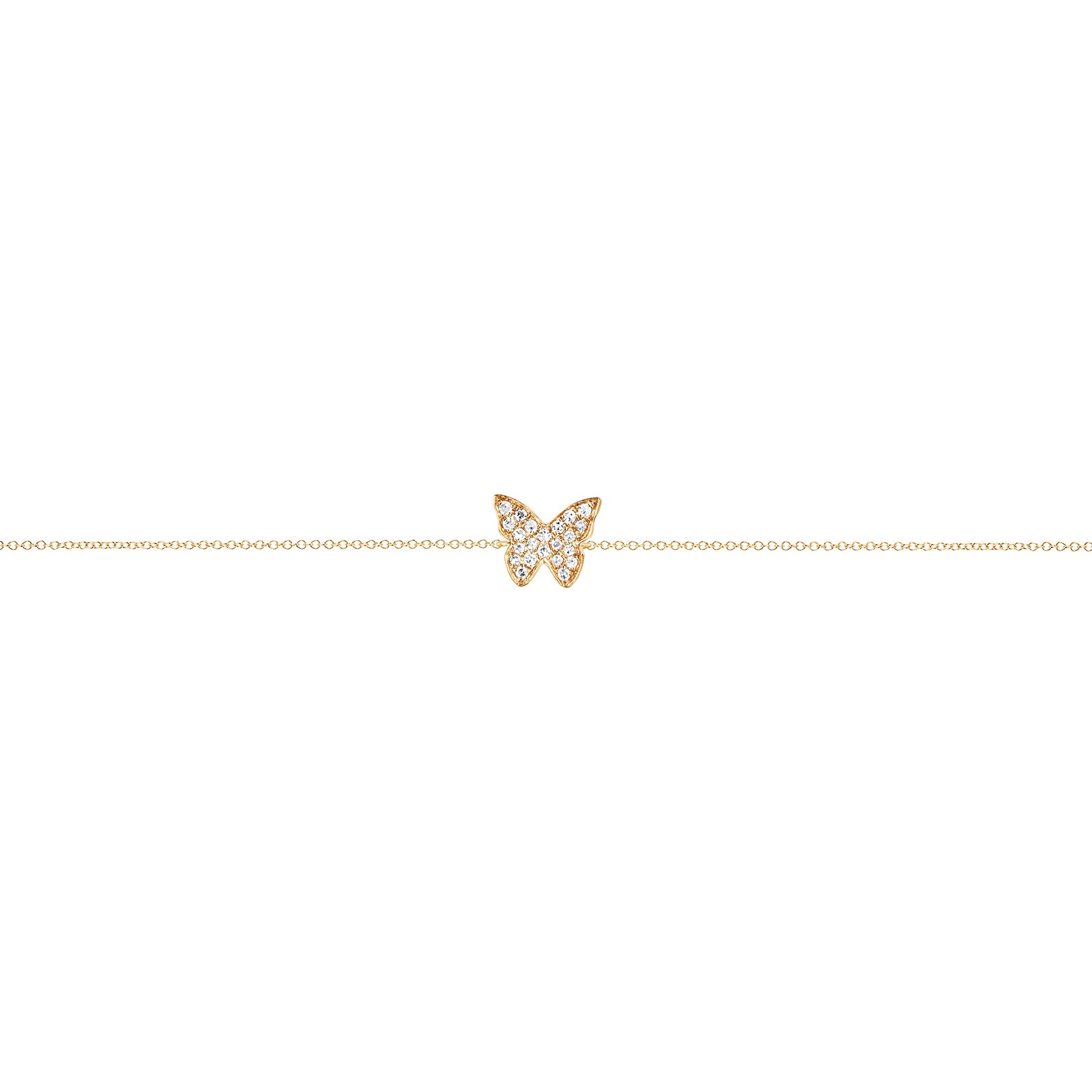 EF Collection Diamond Butterfly Bracelet - Yellow Gold - Bracelets - Broken English Jewelry